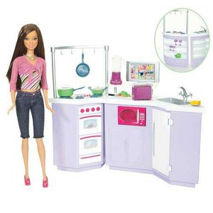 barbie pop en meubel geschenkset keuken. Black Bedroom Furniture Sets. Home Design Ideas